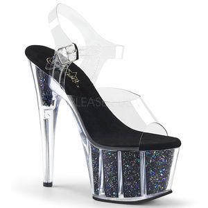 Glitter Stiletto High Heels Platform Shoes Clear